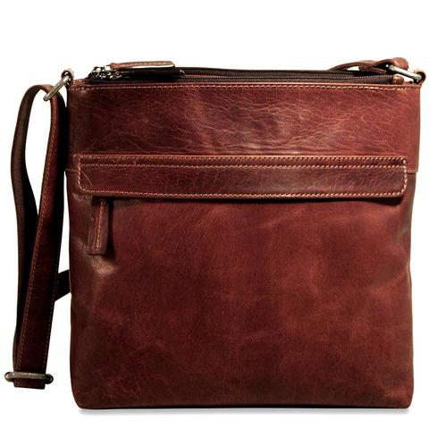 Voyager Double Zip Top Crossbody Hobo Bag - Brown-0