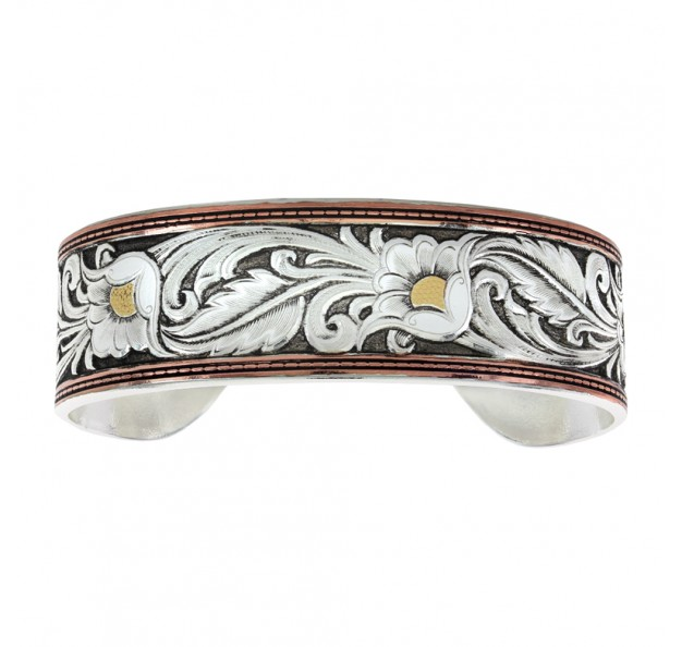 BC2598TRI-BK LeatherCut Tri-Colored Floral Cuff Bracelet -0