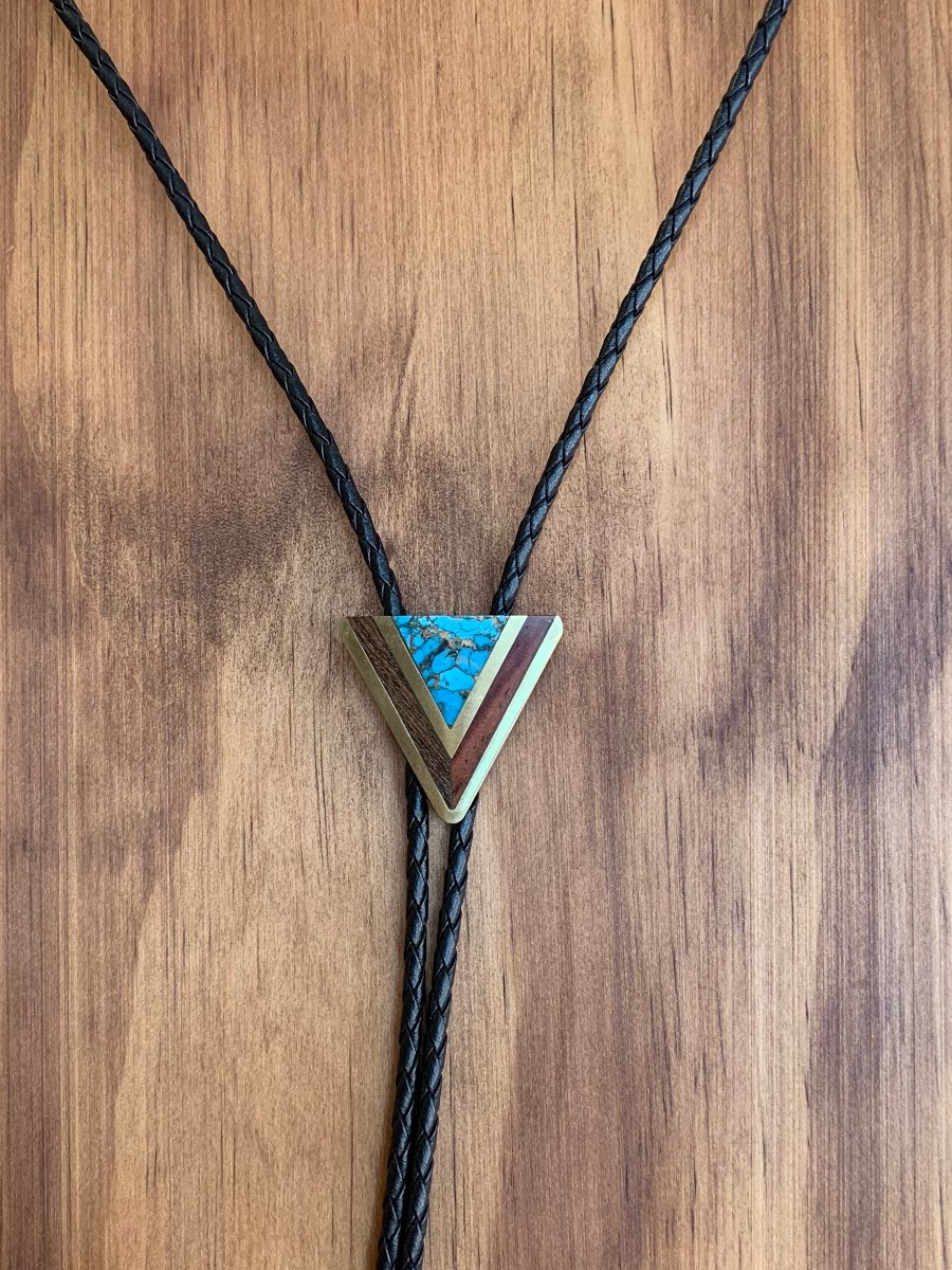 8352 L&M Wood, Brass, Turquoise Inlay Bolo; small-0