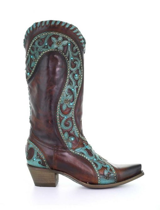 E1538 Corral Chocolate Turquoise Overlay/ Woven Crystals Boots-7489