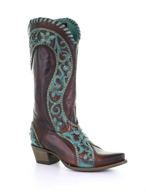 E1538 Corral Chocolate Turquoise Overlay/ Woven Crystals Boots-0