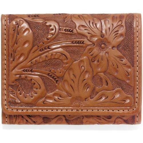 E80124 Tan Las Flores Tri-Fold Wallet-0