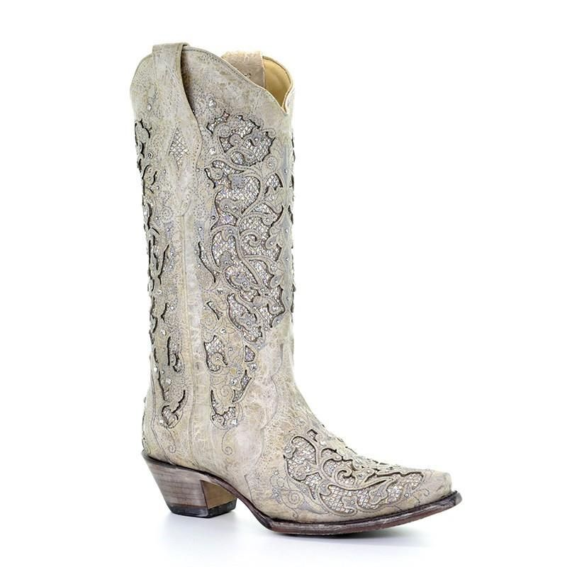 A3322 Corral White Glitter Inlay Boots-0