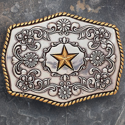 37227 Floral Buckle With Gold Star -0