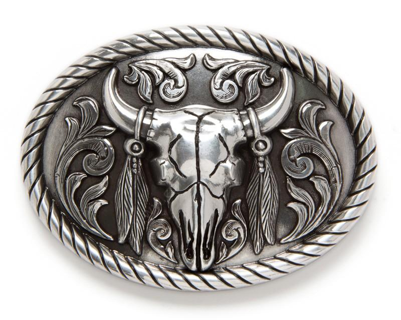 37030 Steer Skull With Feathers Buckle-0
