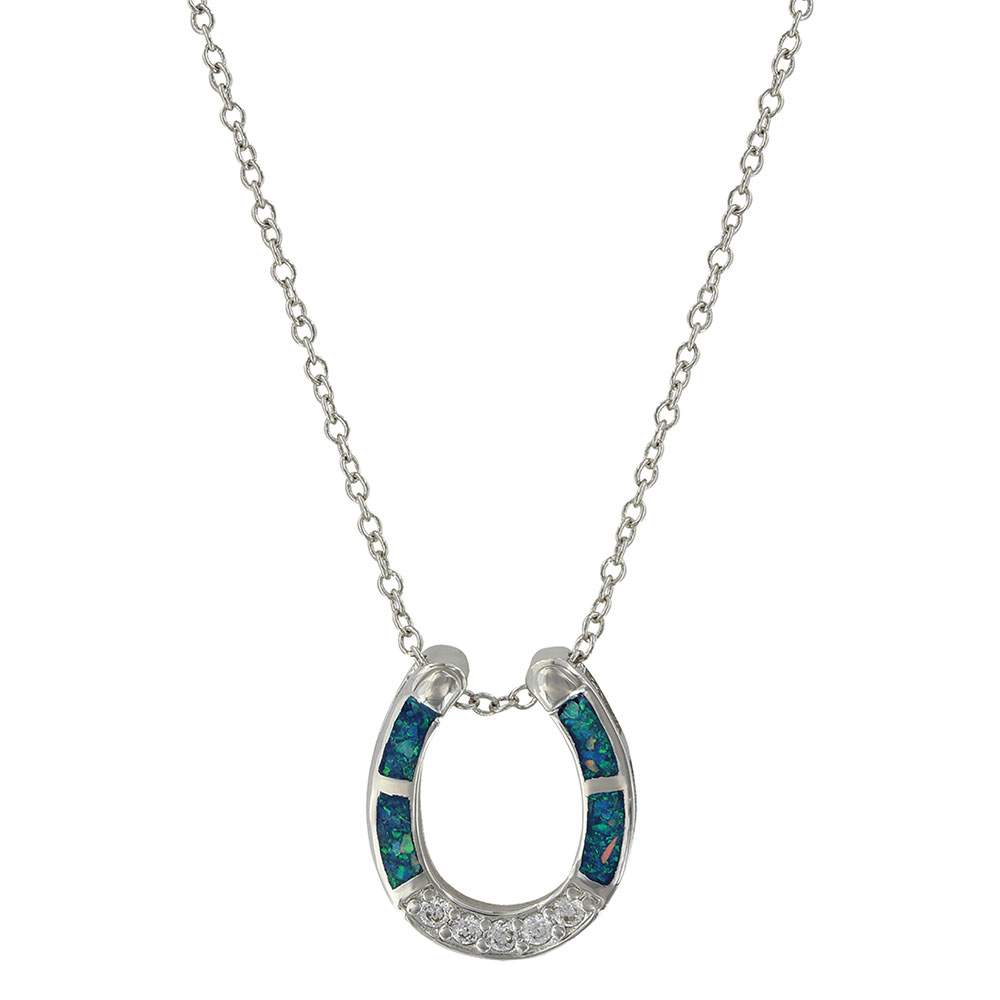 NC3859 River of Lights Stars in Water Horseshoe Necklace-0